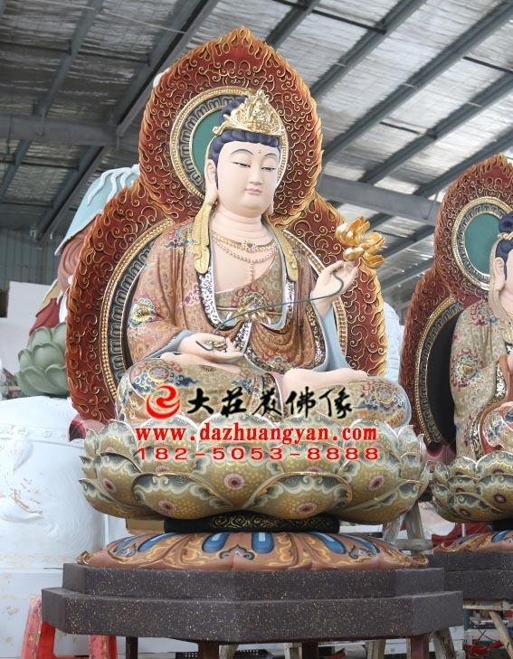 生漆脱胎西方三圣之大势至菩萨坐莲塑像侧面照