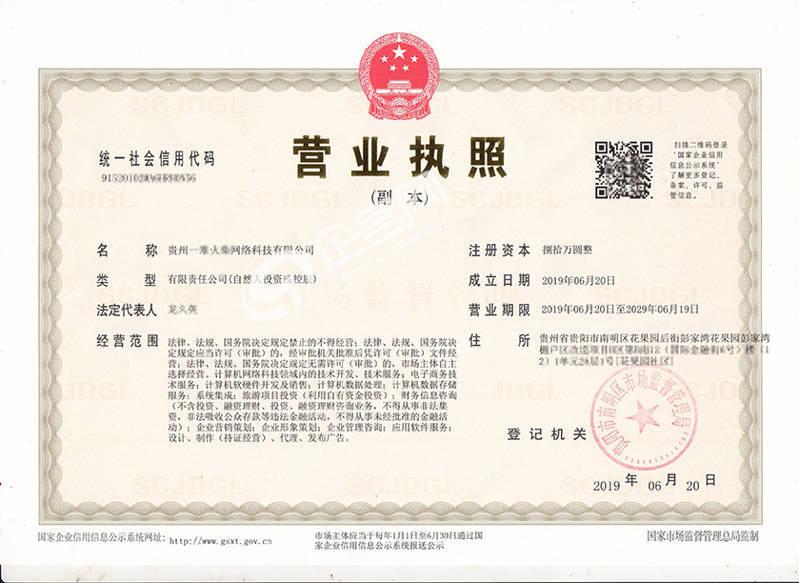贵州XX网络科技有限公司-贵阳2019年新版营业执照